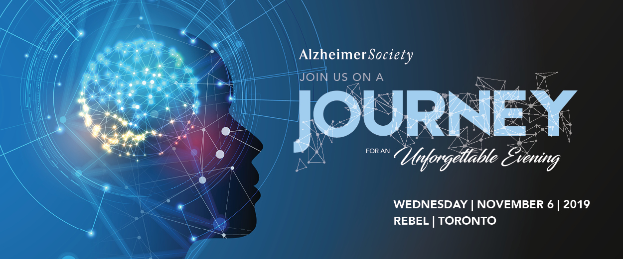 """An image of a sparkly brain with the text, """"Join us on a journey for an unforgettable evening"""" Wednesday, November 6, 2019 at Rebel, Toronto"""